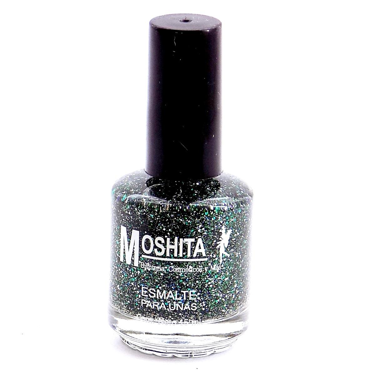 Esmalte Para Uñas MOSHITA Color Transparente con Glitter verde, 15 ...